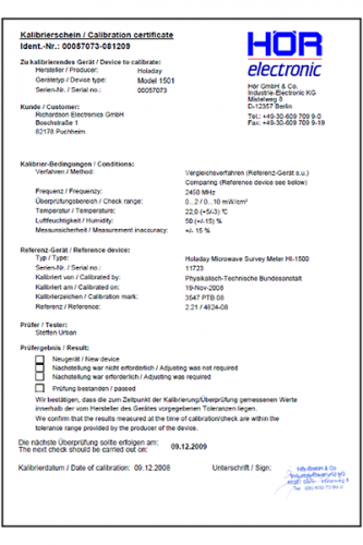 Check/Calibration incl. certificate - Hör GmbH